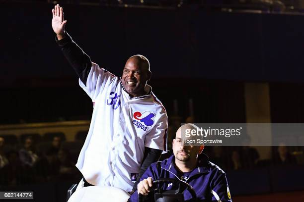 Former Montreal Expos player Tim Rains saluting the crowd for his hall of fame induction ceremony in Montréal during the Pittsburgh Pirates versus...