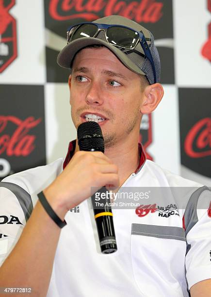 Former MotoGP Champion Casey Stoner of Australia and MuSASHi RT HARCPRO speaks during a press conference after the testing ahead of the Suzuka 8Hours...