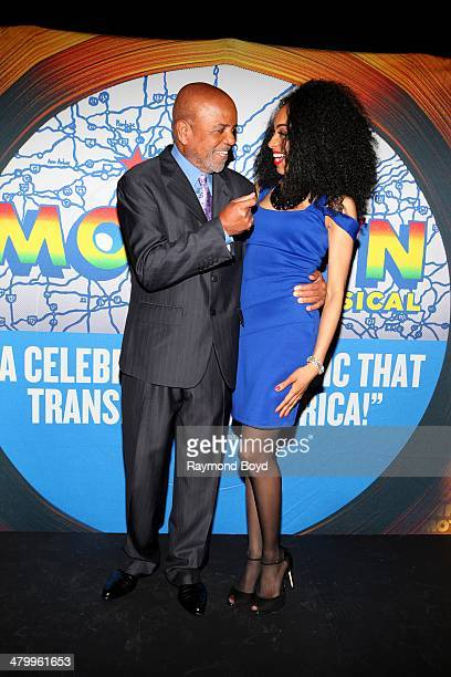 Former Motown Records Founder and Producer Berry Gordy Jr and actress and singer Allison Semmes shares a laugh during a presentation of the national...