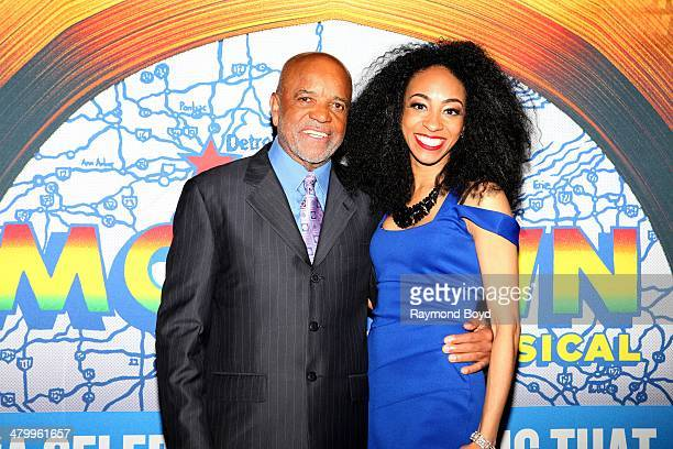 Former Motown Records Founder and Producer Berry Gordy Jr and actress and singer Allison Semmes poses for photos during a presentation of the...
