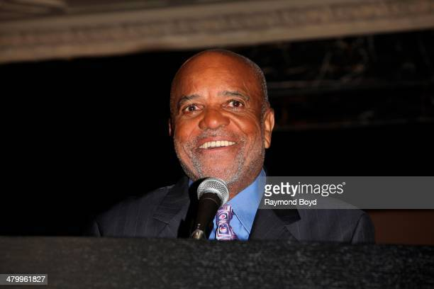 Former Motown Records Founder and Producer Berry Gordy Jr greets the press during a presentation of the national touring company of Motown The...