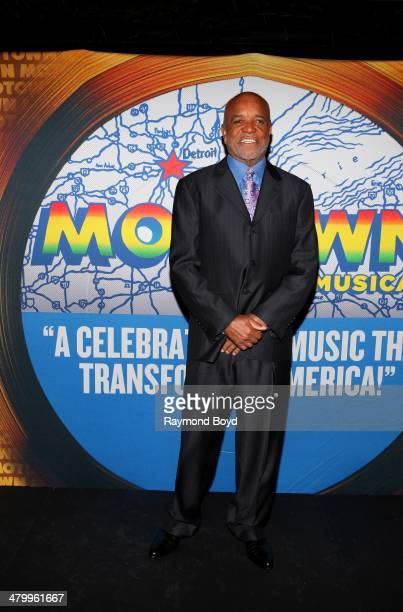 Former Motown Records Founder and Producer Berry Gordy Jr poses for photos during a presentation of the national touring company of Motown The...