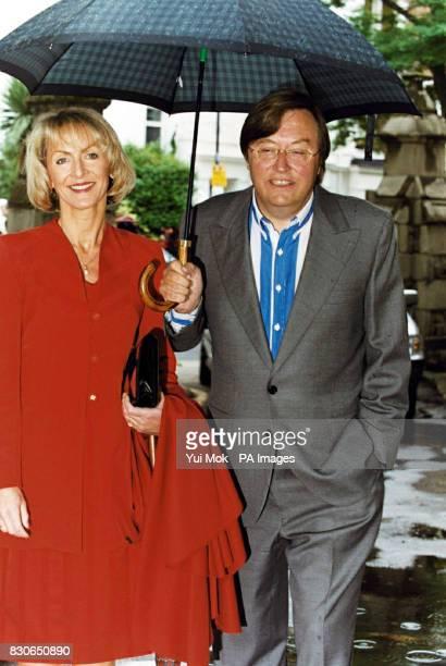 Former MP and radio presenter David Mellor and his friend Viscountess Cobham arriving Julian Lloyd Webber and Kheira Bourahla wedding in Kensington,...
