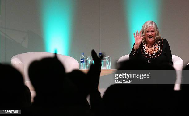 Former MP Anne Widdecombe waves as she receives a standing ovation after speaking at a Coalition for Marriage fringe event as part of the...