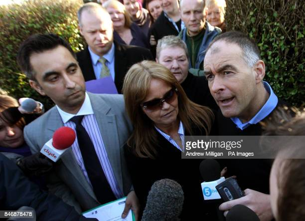 Former MSP Tommy Sheridan accompanied by his wife Gail speaks to the media after arriving home in Glasgow after leaving Castle Huntly Prisonnear...
