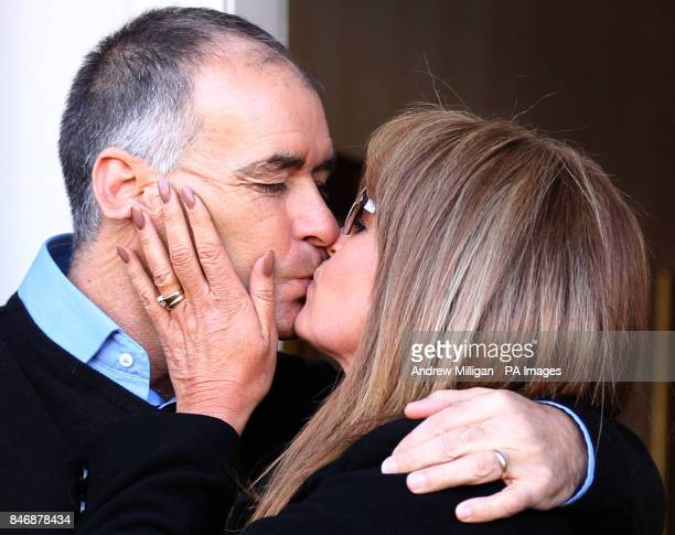 Former MSP Tommy Sheridan kisses his wife Gail as he arrives home in Glasgow after leaving Castle Huntly Prisonnear Dundee after serving just over...