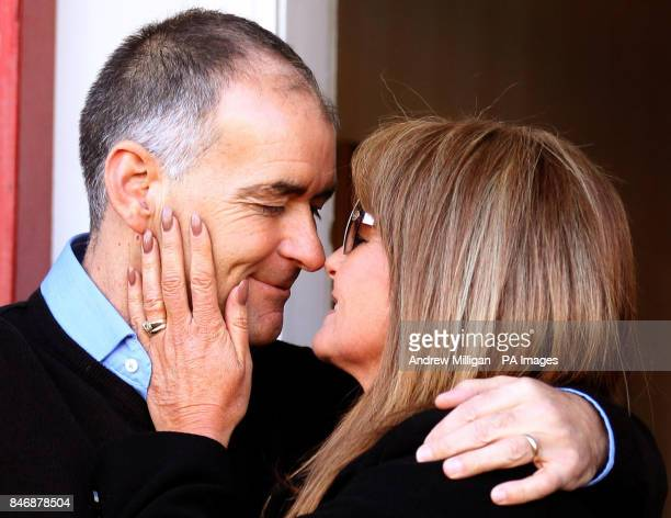 Former MSP Tommy Sheridan looks at his wife Gail after arriving home in Glasgow after leaving Castle Huntly Prisonnear Dundee after serving just over...