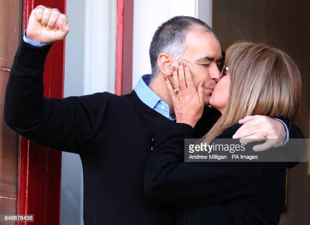 Former MSP Tommy Sheridan salutes well wishers and kisses his wife Gail as he arrives home in Glasgow after leaving Castle Huntly Prisonnear Dundee...