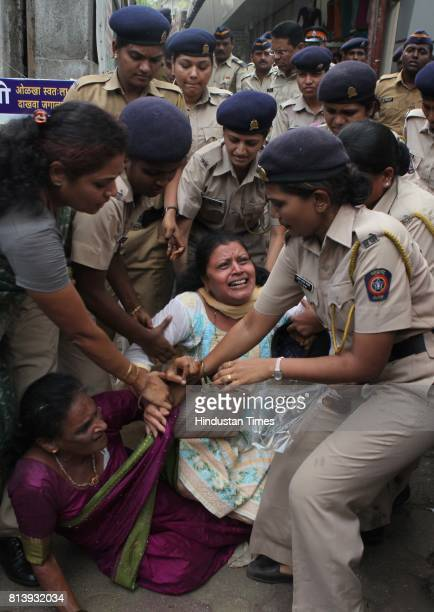 Former Mumbai mayor of Shiv Sena Vishakha Raut and shiv sena activist was arrested by police during the protest against Ajit Pawar