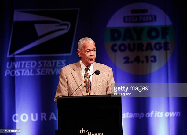 Former NAACP Chairman Julian Bond speaks during the unveiling of the new Rosa Parks stamp, a commemorative stamp issued by the U.S. Postal Service...