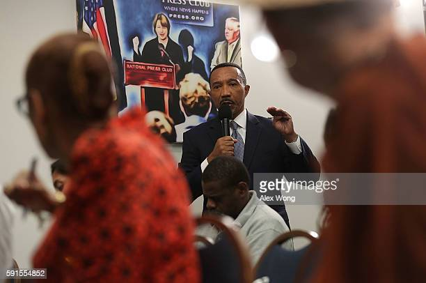 Former NAACP President and CEO Kweisi Mfume speaks at a news conference on what would have been the 129th birthday of prominent PanAfricanism...