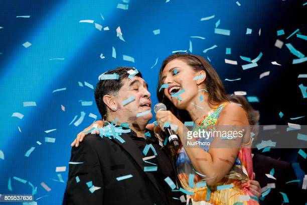 Former Napoli player Diego Armando Maradona with the singer and actress Serena Rossi receiving the honorary citizenship of Naples at Piazza del...