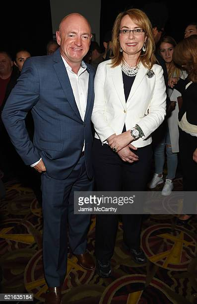 Former NASA astronaut Mark Kelly and former United States Representative Gabrielle Giffords attend the after party for the New York premiere of 'A...