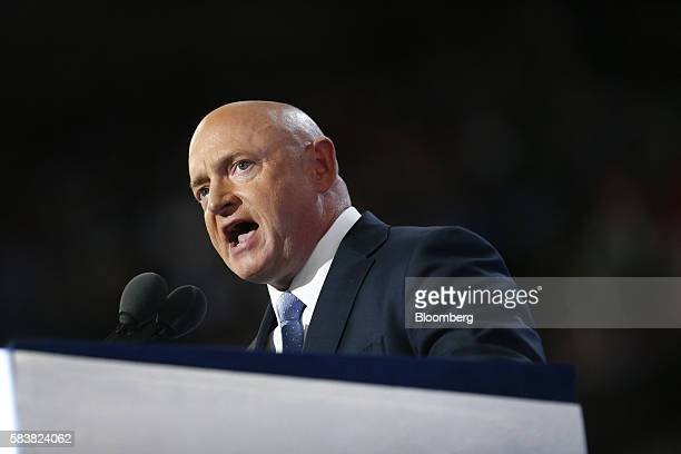 Former NASA Astronaut Mark Kelly speaks during the Democratic National Convention in Philadelphia, Pennsylvania, U.S., on Wednesday, July 27, 2016....