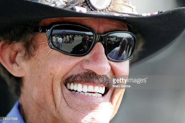 Former NASCAR Champion Richard Petty looks on during practice for the NASCAR Nextel Cup Series Dodge Avenger 500 on May 11, 2007 at Darlington...