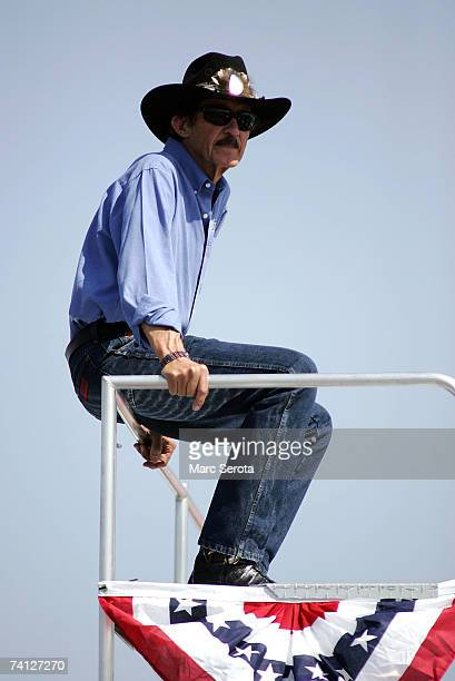 Former NASCAR Champion Richard Petty looks on during practice for the NASCAR Nextel Cup Series Dodge Avenger 500 on May 11 2007 at Darlington Raceway...