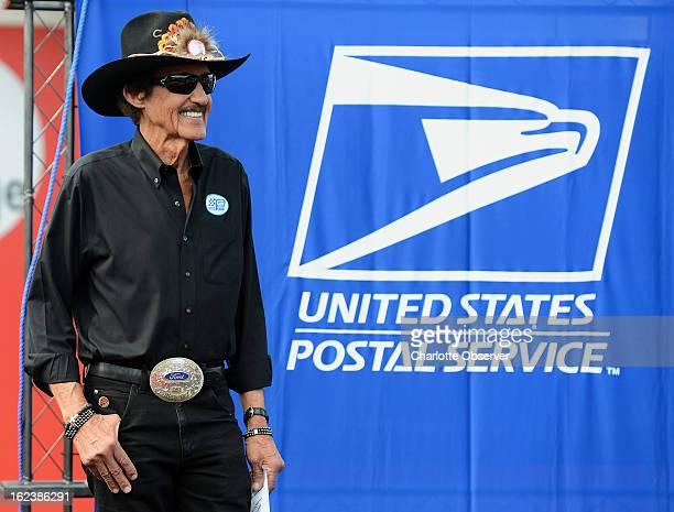 Former NASCAR driver and Hall of Famer Richard Petty is introduced to the audience during the US Postal Service FirstDayofIssue dedication ceremony...