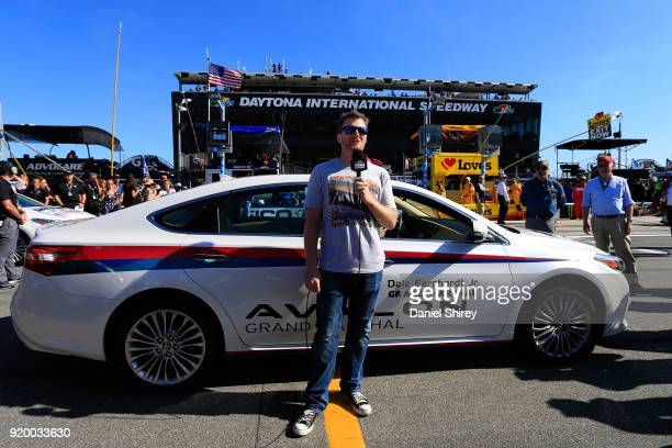 Former NASCAR driver Dale Earnhardt Jr gives the command prior to the start of the Monster Energy NASCAR Cup Series 60th Annual Daytona 500 at...