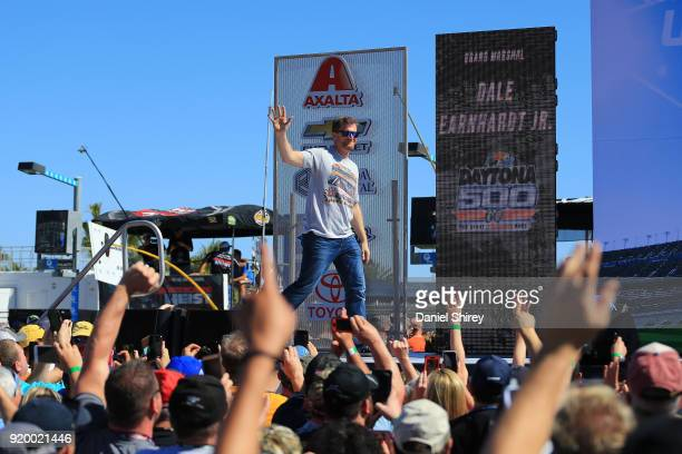 Former NASCAR driver Dale Earnhardt Jr is introduced prior to the Monster Energy NASCAR Cup Series 60th Annual Daytona 500 at Daytona International...
