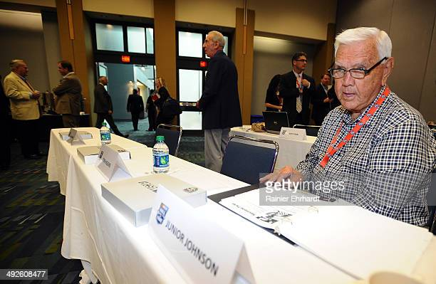 Former NASCAR driver Junior Johnson looks on before NASCAR Hall of Fame Class of 2015 voting at Charlotte Convention Center on May 21 2014 in...