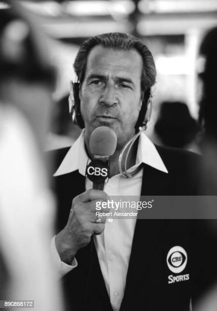 Former NASCAR driver Ned Jarrett broadcasts the 1980 Daytona 500 for CBSTV at Daytona International Speedway in Daytona Beach Florida