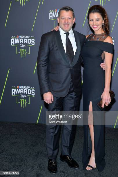 Former NASCAR driver Tony Stewart and his fiance Pennelope Jimenez attend the Monster Energy NASCAR Cup Series awards at Wynn Las Vegas on November...
