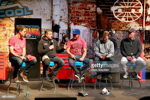 Former NASCAR driver Tony Stewart and Monster Energy NASCAR Cup Series drivers Joey Logano Clint Bowyer Brad Keselowski and Kevin Harvick talk on...