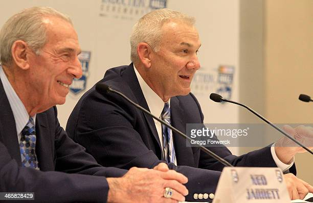 Former NASCAR drivers Ned Jarrett and his son Dale Jarrett make comments to the media following a ceremony inducting Dale into the NASCAR Hall of...