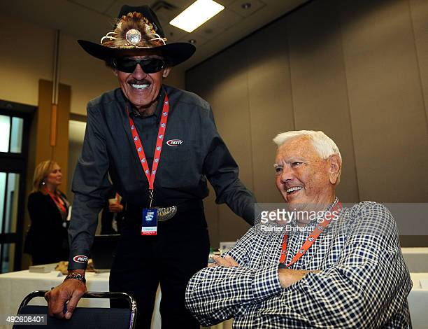 Former NASCAR drivers Richard Petty and Junior Johnson talk before the NASCAR Hall of Fame Class of 2015 voting at Charlotte Convention Center on May...