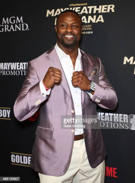 Former National Football League player Bart Scott arrives at the prefight party for The Moment Mayweather vs Maidana at the MGM Grand Garden Arena on...