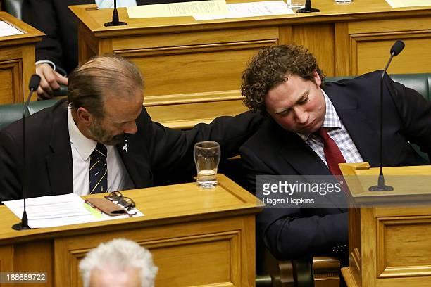 Former National MP Aaron Gilmore Is Comforted By Dr Cam Calder After Delivering His