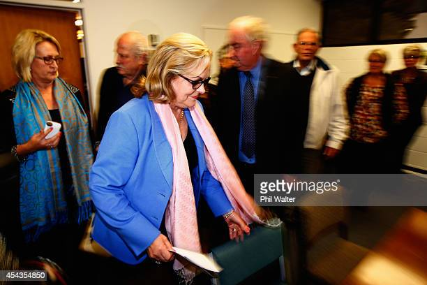 Former National Party MP Judith Collins arrives to make a statement to media following her resignation on August 30, 2014 in Auckland, New Zealand....
