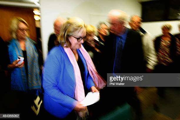 Former National Party MP Judith Collins arrives to make a statement to media following her resignation on August 30 2014 in Auckland New Zealand...
