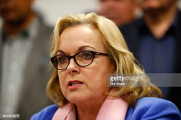 Former National Party MP Judith Collins makes a statement to media following her resignation on August 30, 2014 in Auckland, New Zealand. Information...