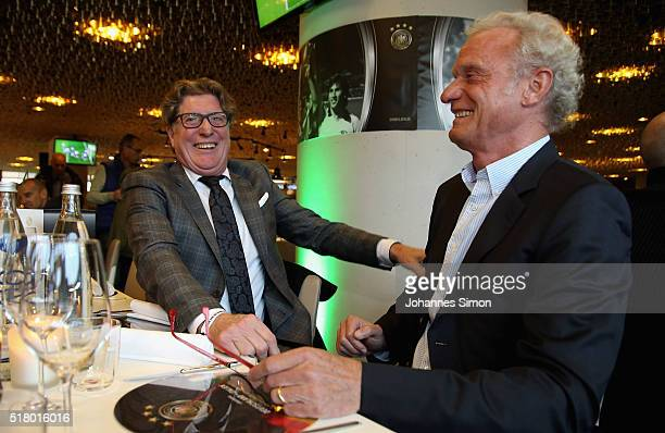 Former national player Toni Schumacher and HansPeter Briegel attend the Club of former national players meeting during the international friendly...