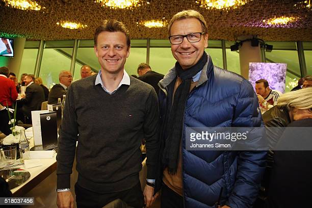 Former national players Christian Woerns and Guido Buchwald attend the Club of former national players meeting during the international friendly...