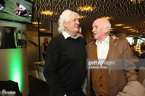 Former national players Wolfgang Fahrian and Peter Grosser attend the Club of former national players meeting during the international friendly...