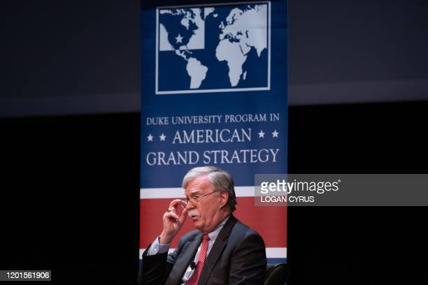 Former National Security adviser John Bolton speaks on stage during a public discussion at Duke University in Durham North Carolina on February 17...