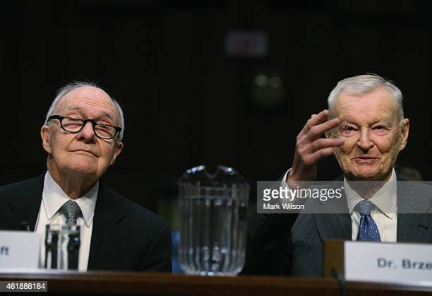 Former National Security Advisor Brent Scowcroft and Zbigniew Brzezinski testify during a Senate Armed Services Committee hearing on Capitol Hill...