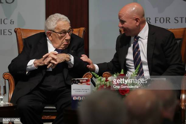 Former National Security Advisor Henry Kissinger and current White House National Security Advisor HR McMaster participate in a discussion at The...