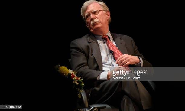 Former National Security Advisor John Bolton discusses the current threats to national security during a forum moderated by Peter Feaver the director...