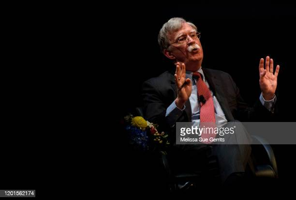 """Former National Security Advisor John Bolton discusses the """"current threats to national security"""" during a forum moderated by Peter Feaver, the..."""
