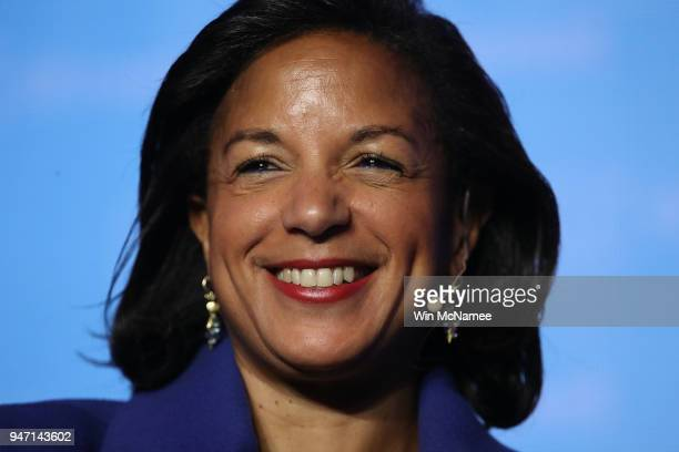 Former National Security Advisor Susan Rice speaks at the J Street 2018 National Conference April 16, 2018 in Washington, DC. Rice spoke on the topic...