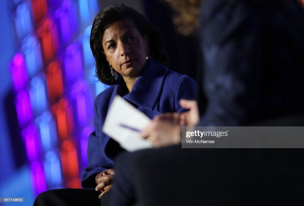 Former National Security Advisor Susan Rice speaks at the J Street 2018 National Conference April 16, 2018 in Washington, DC. Rice spoke on the topic of 'The Dangers of U.S. Foreign Policy Under Trump'.