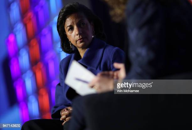 Former National Security Advisor Susan Rice speaks at the J Street 2018 National Conference April 16 2018 in Washington DC Rice spoke on the topic of...