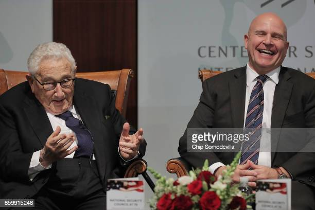 former National Security Advisors Henry Kissinger and current White House National Security Advisor HR McMaster participate in a discussion at The...