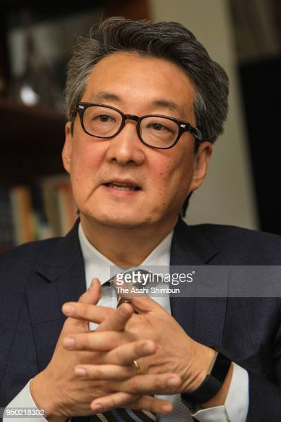 Former National Security Council Director for Asian Affairs Victor Cha speaks during the Asahi Shimbun interview on April 20 2018 in Washington DC