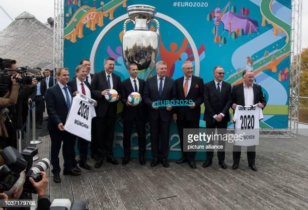 Former national soccer player Olaf Thon DFBVice President Rainer Koch DFBDeputy Secretary General Ralf Koettker DFB President Reinhard Grindel UEFA...