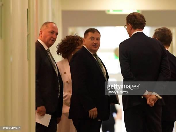Former Nationals leader Barnaby Joyce leaves a party room meeting after an unsuccessful attempt to take the leadership from current Deputy Prime...