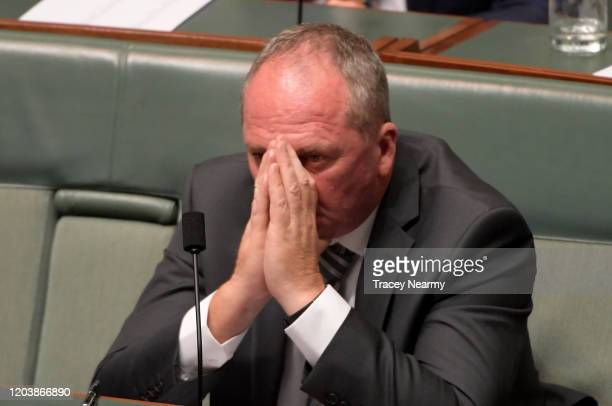 Former Nationals leader Barnaby Joyce listens to condolences in the House of Representatives on February 04, 2020 in Canberra, Australia. Usual...